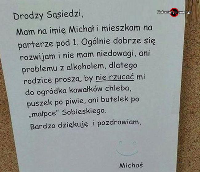 Michał bardzo o to prosi