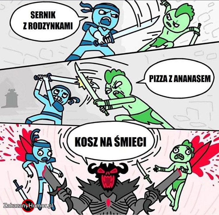 walka-sernik-z-rodzynkami-vs-pizza-z-ananasem-pokonuje-nadziewa-obu-kosz-na-smieci