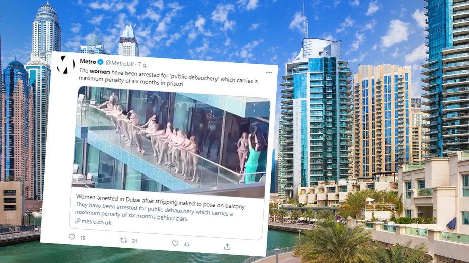 Modelki pozujące nago na balkonie w Dubaju zostały aresztowane
